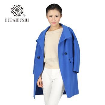 弗2015冬新款女装双排扣羊毛呢外套女士中长款韩版双面呢子大衣潮