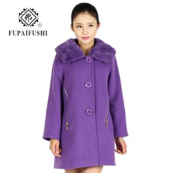 弗毛呢外套加厚冬季新款2015通勤女装高贵气质中长款羊毛呢子大衣