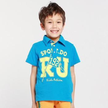 帕菲帕贝儿童t恤夏装2014新款大童装翻领字母印花男童大童短袖T恤