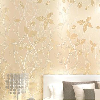 蒙塔果环保无纺布壁纸立体镶银小树叶现代田园卧室客厅背景墙纸