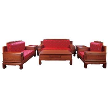 滑氏红木大果紫檀中国式沙发六件套
