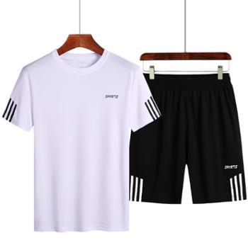 【御旗】夏季男士短袖t恤韩版宽松速干T恤裤子男士运动套装短裤加肥加大