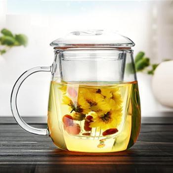 清彩 蘑菇杯 耐热创意玻璃杯夏天水杯女带盖杯子 过滤透明花茶杯