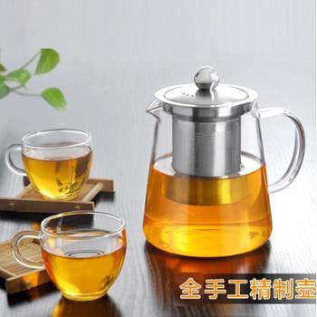 清彩750毫升茶壶配4杯加厚玻璃茶具套装