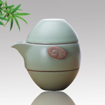 汝窑快客杯一壶二杯以一陶瓷茶盘开片汝窑茶具套装送加厚pu旅行包