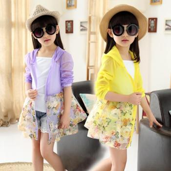 夏女童防晒皮肤衣儿童薄中长款防晒服防紫外线防晒衣