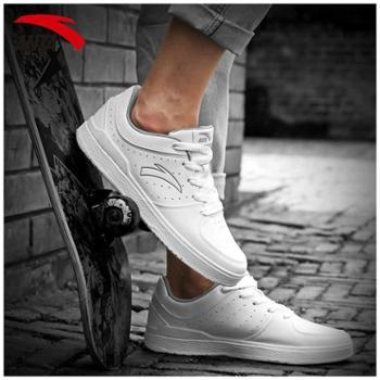 安踏板鞋男鞋皮面防水小白鞋学生休闲鞋子