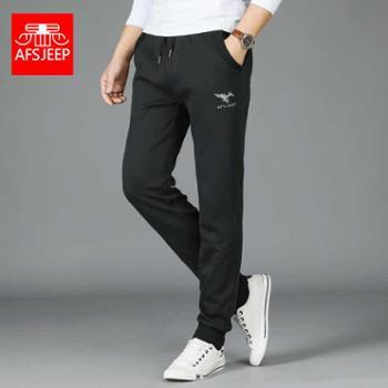 包邮AFS JEEP男秋季厚款跑步运动长裤 收口裤针织卫裤