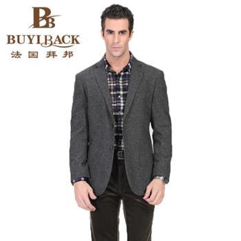 拜邦春装时尚高档修身羊毛西服深灰色商务外套单西服西装CA21-850
