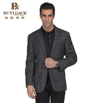 拜邦新款春装时尚高档西服外套深灰黑线大格外套羊毛单西装西服CA22-848