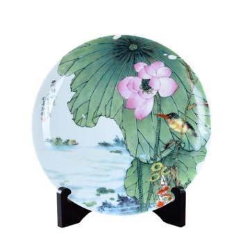 瓷博景德镇陶瓷盘子装饰瓷盘摆件荷塘秋色荷花鸟家居工艺品坐盘出国礼品