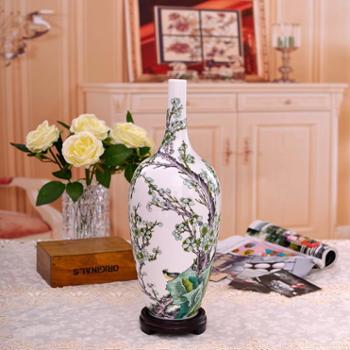 瓷博 景德镇陶瓷装饰花瓶摆件工艺品 春信瓷瓶古朴中式客厅瓷器