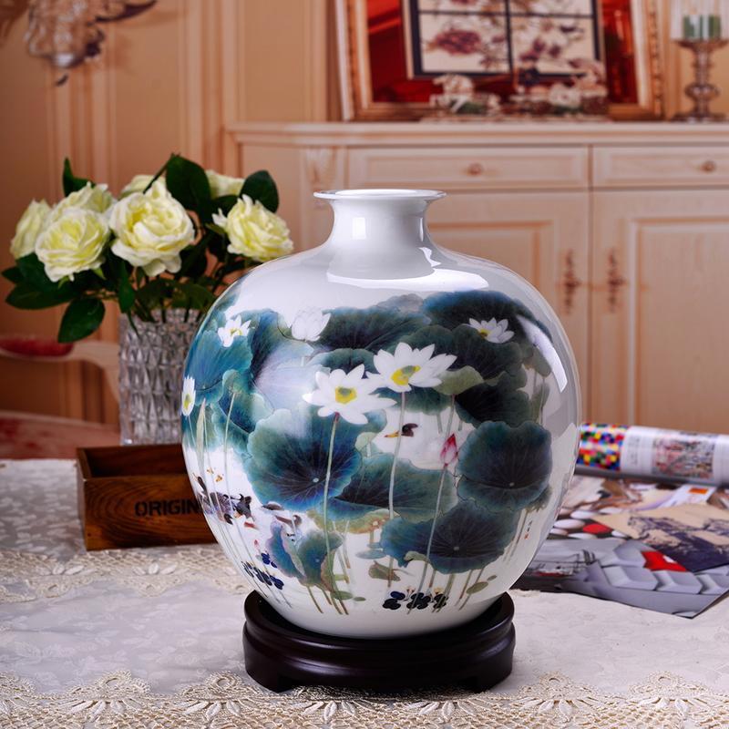 瓷博 景德镇陶瓷中号花瓶白色瓷器摆件喻继高大师荷香鸭肥瓷瓶