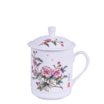 瓷博 景德镇陶瓷十二花神杯骨瓷泡茶杯子带盖12花神系列 办公会议室