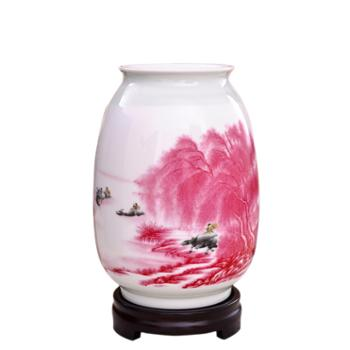 瓷博景德镇瓷器花瓶摆件装饰工艺品江南水乡山水红瓷瓶