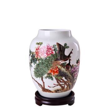 瓷博景德镇陶瓷花瓶孔牡图孔雀画牡丹花瓷器
