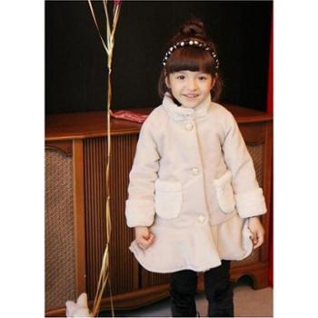优贝哈尼童装秋冬季新品童装韩版花边外套女童加厚兔毛绒领呢子大衣女童棉外套36109