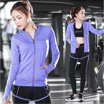 长袖瑜伽服套装显瘦运动防震文胸速干户外健身套装女三件套跑步女装