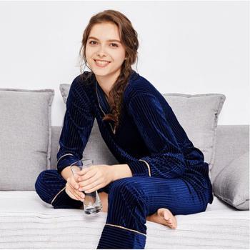 耀婷薄款金丝绒睡衣 春秋季女士长袖长裤两件套