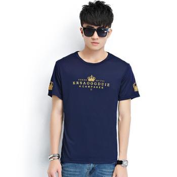 诗班雅夏季男士短袖t恤韩版修身圆领半袖印花T恤1631