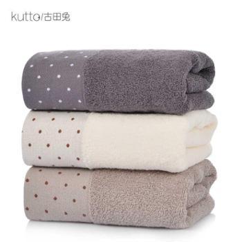 古田兔宽缎爆款圆点加厚吸水洗脸巾纯棉毛巾面巾1条装