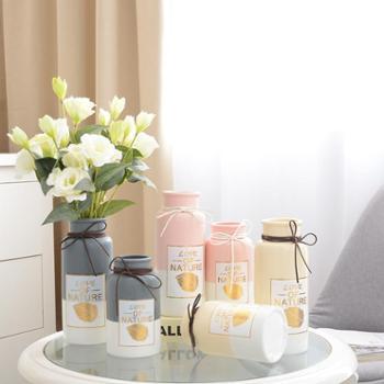 小清新陶瓷花瓶两件套客厅插花家居装饰现代简约创意摆设摆件