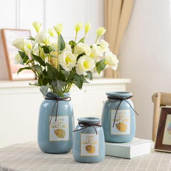 小清新陶瓷椭圆形花瓶中号客厅插花家居装饰现代简约创意摆设摆件