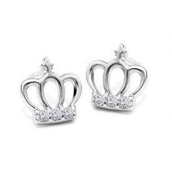 裕景 纯银 小皇冠镶钻耳钉 公主韩版可爱淑女耳饰品包邮