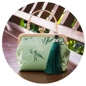 裕景中国风刺绣竹叶手拿包单肩包