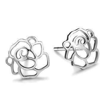 气质甜美925纯银花耳钉时尚小资耳饰耳环包邮