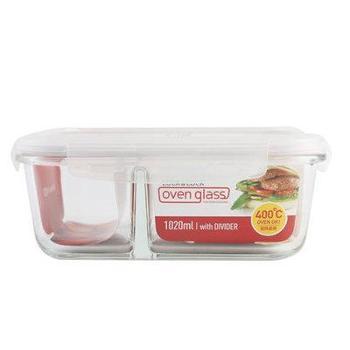 乐扣乐扣保鲜盒分隔饭盒630ml长方形429格拉斯微波炉专用碗耐热玻璃保鲜盒密封便当盒套装
