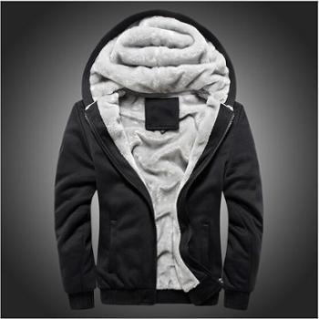 绅男格调 冬款韩版男式纯色拉链连帽休闲棉衣外套男士加绒加厚开衫卫衣