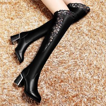 莫蕾蔻蕾长靴女高跟蕾丝瘦腿弹力靴秋冬新款欧美女靴5D038