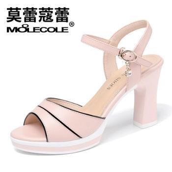 莫蕾蔻蕾春夏季时尚甜美粗跟高跟拼色防水台女鞋8199