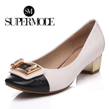 supermode简约经典拼色金属装饰圆头粗跟单鞋