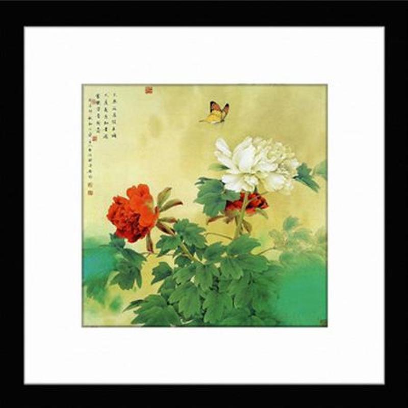 新中式壁画玄关装饰画客厅有框画古典墙画 中国风景画挂画花鸟集 a002