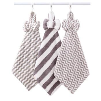 图强珊瑚绒擦手巾3条装挂式成人儿童厨房卫生间柔软吸水可爱毛巾