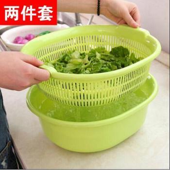 【晋江分行O2O活动专用】双层塑料洗菜盆漏盆厨房洗菜篮子水果篮沥水盆沥水篮洗菜篮