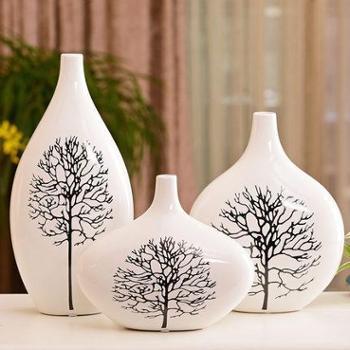 贝汉美家居客厅花瓶摆件现代花器摆设陶瓷花瓶花插结婚礼物白桦树包邮