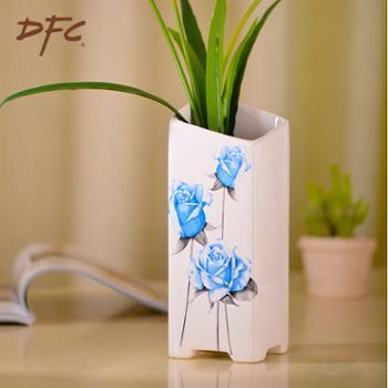 DFC陶瓷器花瓶 时尚蓝玫瑰白色小花瓶 家居客厅装饰摆件礼品