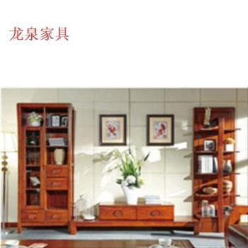 龙泉家具龙翔世家套房系列之北美白蜡木红色组合厅柜