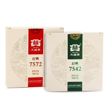 大益普洱茶2018年经典7542生茶+经典7572熟茶300克/套
