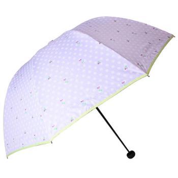 天堂伞 豆蔻青春黑胶丝印包边防紫外线三折全钢蘑菇晴雨伞 33013E
