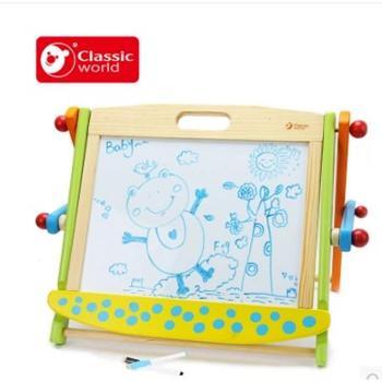 德国可来赛多功能磁性积木画板儿童涂鸦双面写字板宝宝黑板家用
