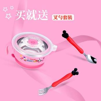 迪士尼宝宝注水保温碗儿童餐具婴儿辅食碗勺不锈钢防摔吸盘碗套装