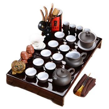 小饼家紫砂茶具装功夫陶瓷实木茶盘商务整套礼品送排水管