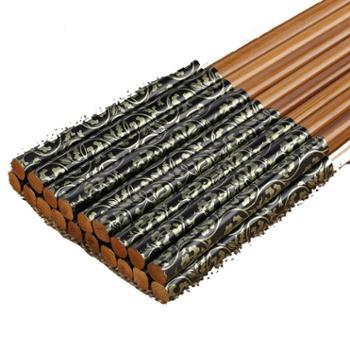 上达筷子10双套装家用天然竹木家庭装中式竹筷便携餐具筷无漆无蜡