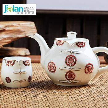 嘉兰骨瓷 5头唐装中国风整套茶具套装 艺术喝茶杯