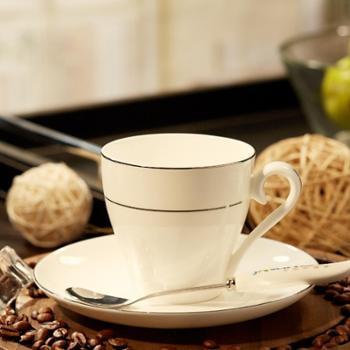 嘉兰骨瓷创意咖啡杯碟套装6个欧式白金镶边下午茶个性简约陶瓷器