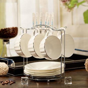 嘉兰骨瓷创意咖啡杯碟套装6个欧式黄金镶边下午茶个性简约陶瓷器